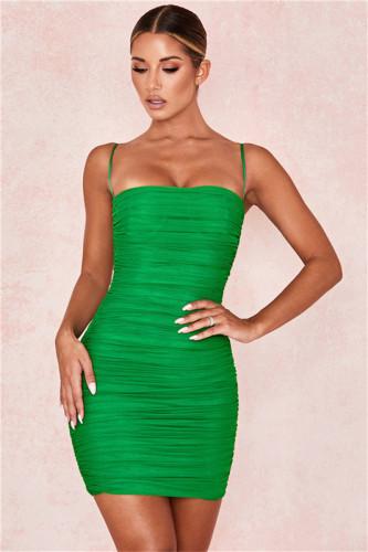 Green Mesh sling skirt women dress