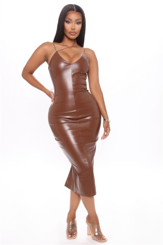 Brown Split sling leather skirt mid-length skirt