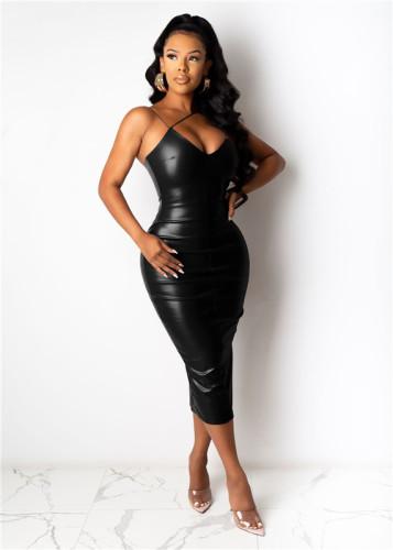 Black Split sling leather skirt mid-length skirt