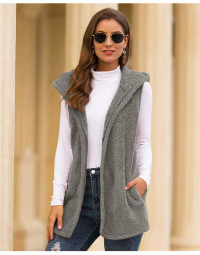 Gray Pure color hooded vest plush jacket