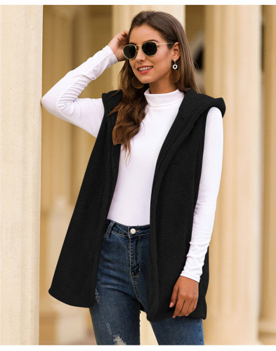 Black Pure color hooded vest plush jacket