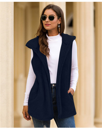 Blue Pure color hooded vest plush jacket