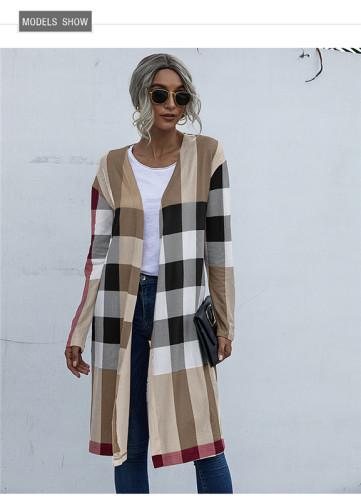 Khaki Fashion buttonless straight cardigan jacket