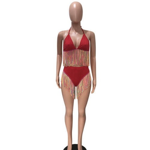 Red Two piece colorful tassel Bikini Swimsuit