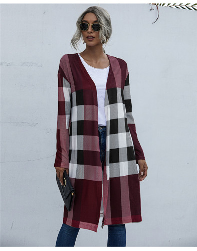 Red Fashion buttonless straight cardigan jacket