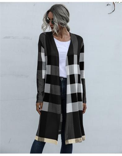 Black Fashion buttonless straight cardigan jacket