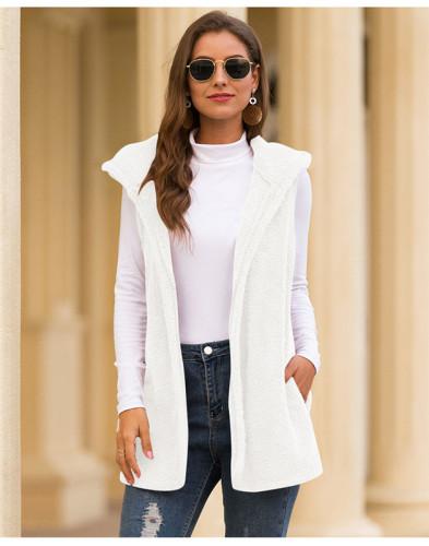 White Pure color hooded vest plush jacket