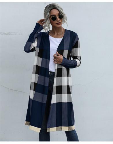 Blue Fashion buttonless straight cardigan jacket