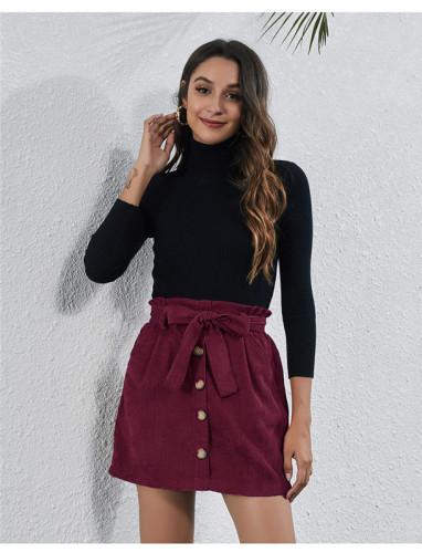 Brown High waist stretch pocket strap A-line skirt