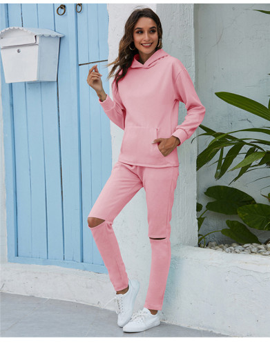 Pink Thickened plus fleece hooded sports suit
