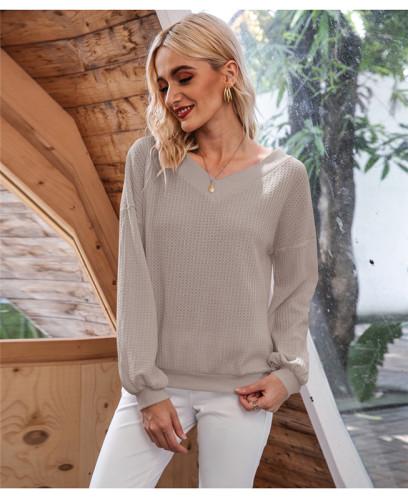 Gray Oblique Collar Off Shoulder Lantern Sleeve T-shirt