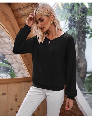 Black Oblique Collar Off Shoulder Lantern Sleeve T-shirt