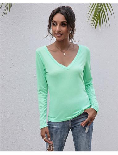 Light Green V-neck solid color all-match top T-shirt