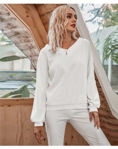 White Oblique Collar Off Shoulder Lantern Sleeve T-shirt