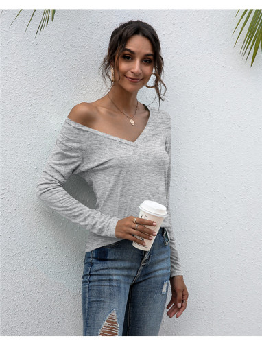 Gray V-neck solid color all-match top T-shirt