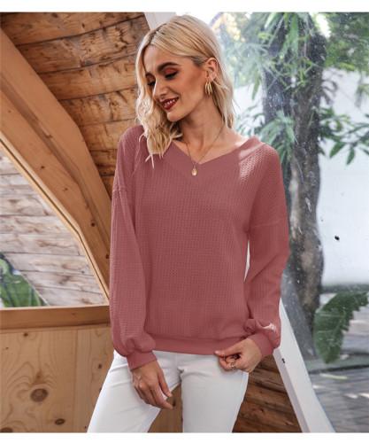 Dark Pink Oblique Collar Off Shoulder Lantern Sleeve T-shirt