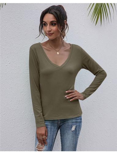 Khaki V-neck solid color all-match top T-shirt