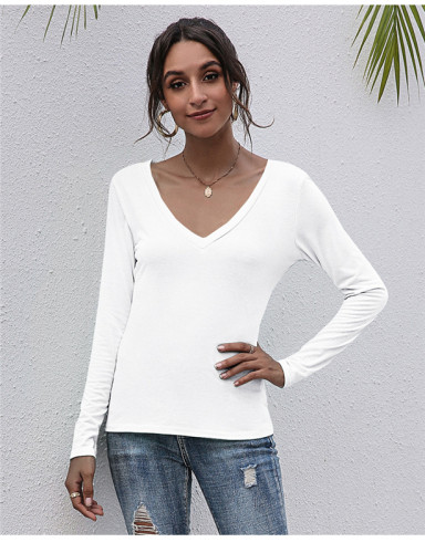 White V-neck solid color all-match top T-shirt