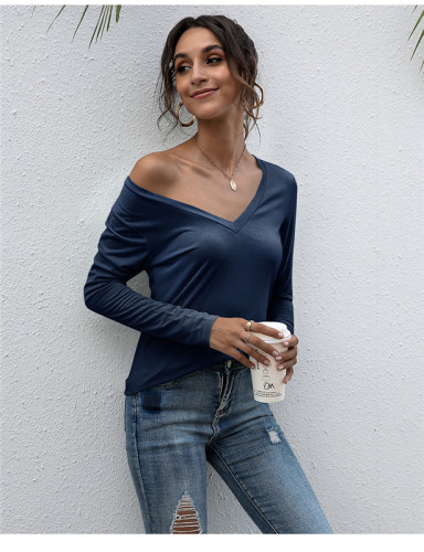 Blue V-neck solid color all-match top T-shirt