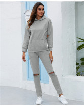 Gray Thickened plus fleece hooded sports suit