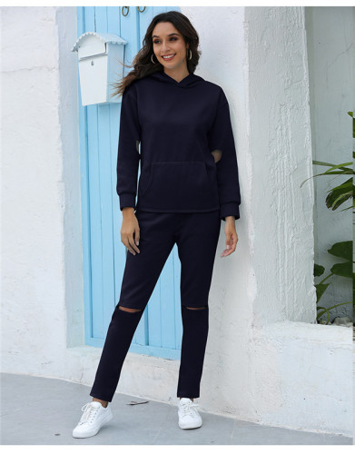 Blue Thickened plus fleece hooded sports suit