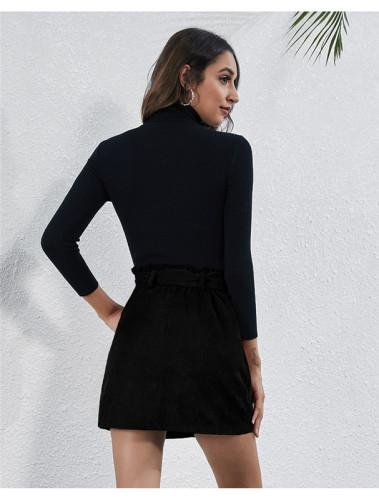 Black High waist stretch pocket strap A-line skirt