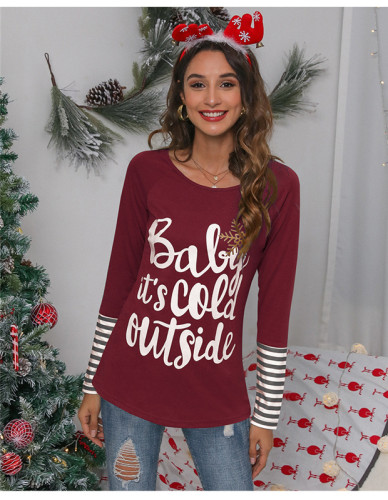 Red Crew neck letter print long sleeve T-shirt
