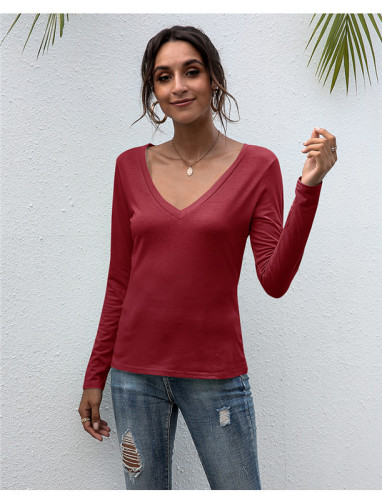 Red V-neck solid color all-match top T-shirt