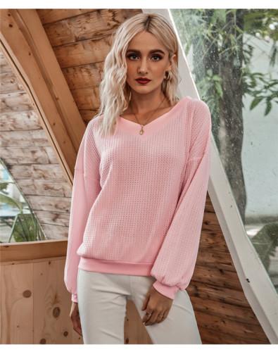 Pink Oblique Collar Off Shoulder Lantern Sleeve T-shirt