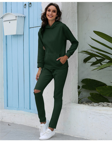 Green Thickened plus fleece hooded sports suit