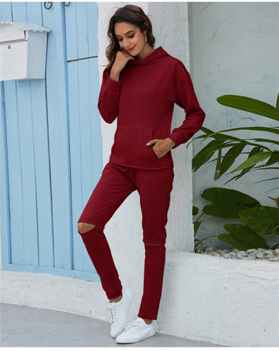 Red Thickened plus fleece hooded sports suit