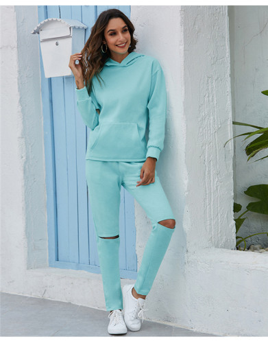 Light Blue Thickened plus fleece hooded sports suit