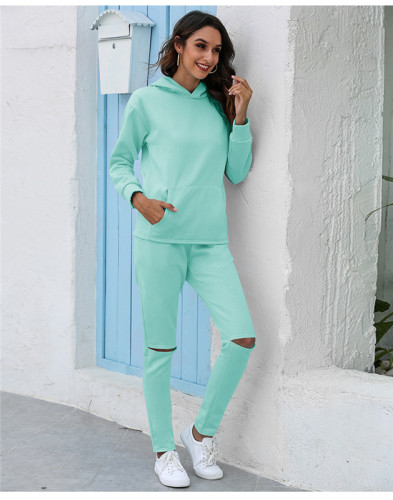Light Green Thickened plus fleece hooded sports suit