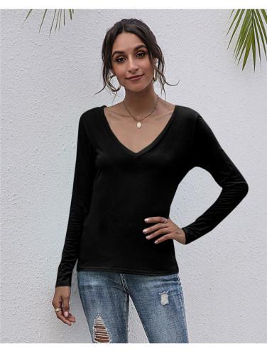 Black V-neck solid color all-match top T-shirt