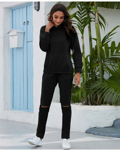 Black Thickened plus fleece hooded sports suit