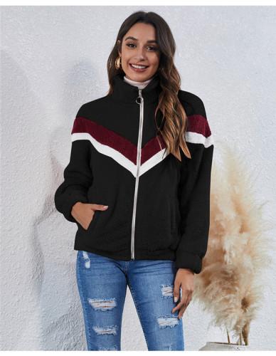 Black Stitched striped pocket zipper plush jacket