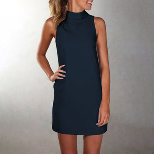 Blue High neck sleeveless slim dress