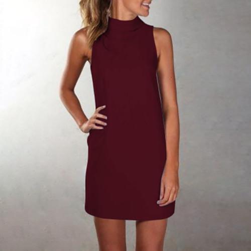 Red High neck sleeveless slim dress