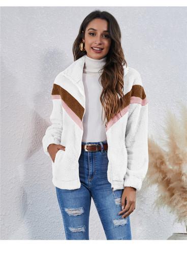 White Stitched striped pocket zipper plush jacket