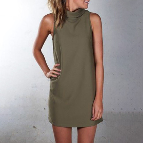 Green High neck sleeveless slim dress