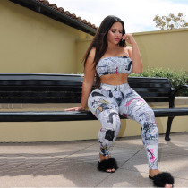 Two piece print chest wrapped and tight, casual and off shoulder