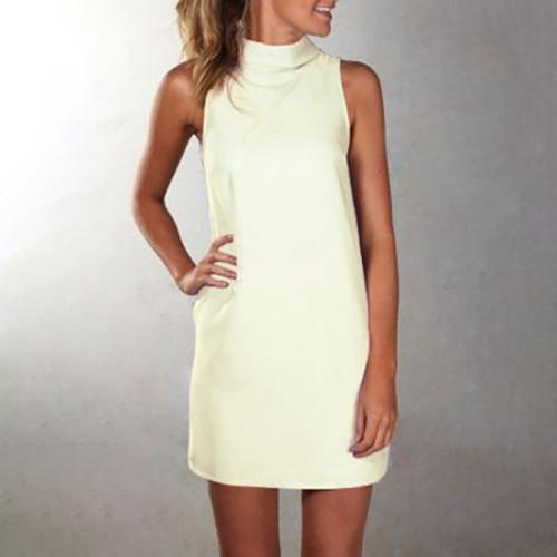 White High neck sleeveless slim dress