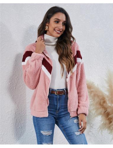 Pink Stitched striped pocket zipper plush jacket