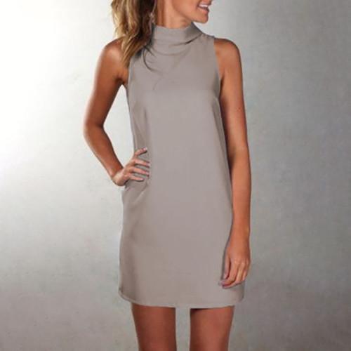Gray High neck sleeveless slim dress