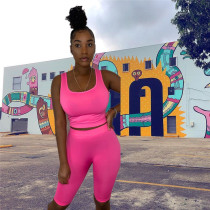 Fluorescent pink Outdoor fitness yoga leisure suit