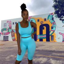 Fluorescent blue Outdoor fitness yoga leisure suit