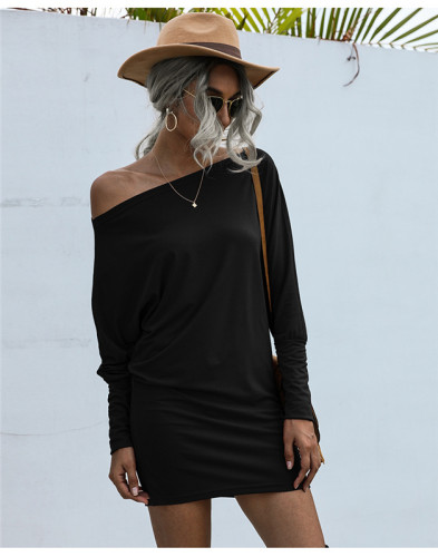 Black Solid color mid-waist sexy bag hip dress