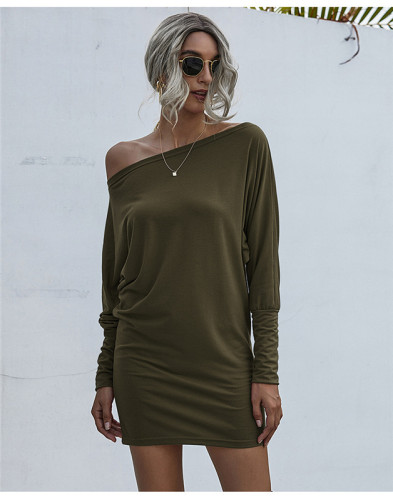 Green Solid color mid-waist sexy bag hip dress