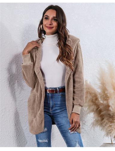 Khaki Wear an anti-fur coat on both sides