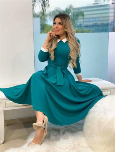 Light Green Stitched zipper slim cute dress